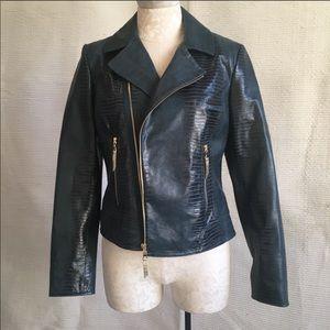 Elie Tahari NWT Slim Leather Moto Jacket Green